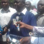 Trans Nzoia Governor Patrick Khaemba speaking to the press in Kitale concerning the budgetary allocations