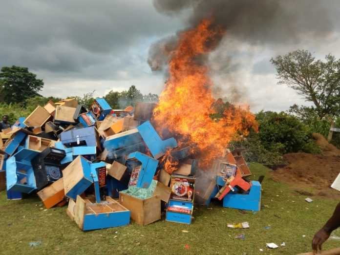 The gambling machines that were destroyed in West Pokot