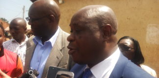NACADA CEO Victor Okioma ( front right) and the Chairperson Julius Ayub Githiri addressing the press in Luanda Town