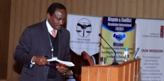 Wiper leader Kalonzo Musyoka speaking at the mediation conference
