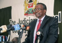 Chief Justice David Maraga speaking at the Annual Judges Colloquium in Mombasa