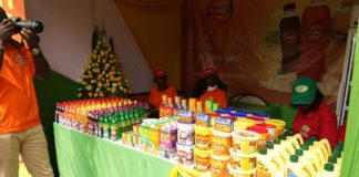 Goods displayed under the Bidco tent at the Kenya Trade Week at the KICC