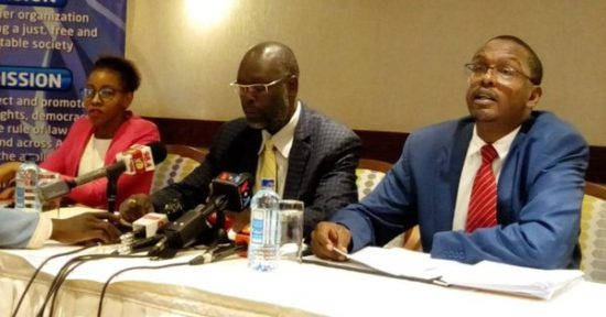 ICJ Kenya Chairman Kelvin Mogeni (centre) has called for the implementation of the TJRC report to solve land cases