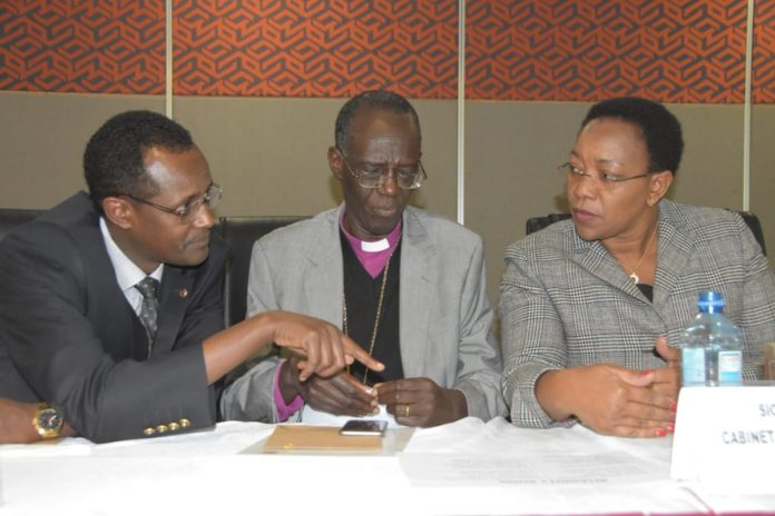 From left;EACC CEO Halakhe Wako, EACC Chairperson Eliud Wabukala and Health CS Sicily Kariuki at a past function