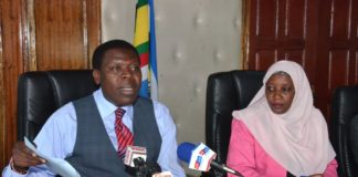 Devolution CS Eugene Wamalwa speaking to the press