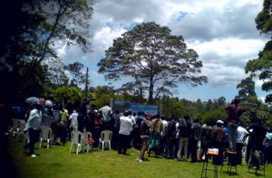 Nandi residents came together to watch the race which was streamed live at the Sports house grounds in Kapsabet