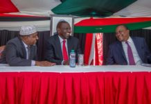 President Uhuru Kenyatta, Deputy President William Ruto and Majority Leader Aden Duale during the Jubilee Parliamentary Group meeting at State House