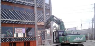 The Taj Mall demolition is ongoing