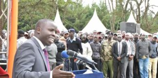 Nandi Governor Stephen Sang speaking during the 113th commemoration of Koitalel Arap Samoei