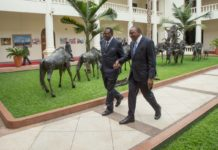 President Uhuru Kenyatta and President Hage Geingob at State House, Nairobi. (PHOTO/PSCU)