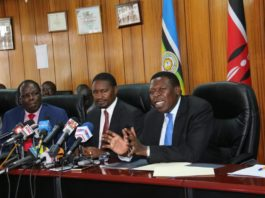 (From right)Devolution CS Eugene Wamalwa, Agriculture CS Mwangi Kiunjuri and Kakamega Governor Wycliffe Oparanya at the press conference