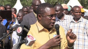 Bungoma govenor Ken Lusaka speaking during the burial ceremony