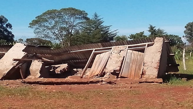 A section of the collapsed  latrines at the school.