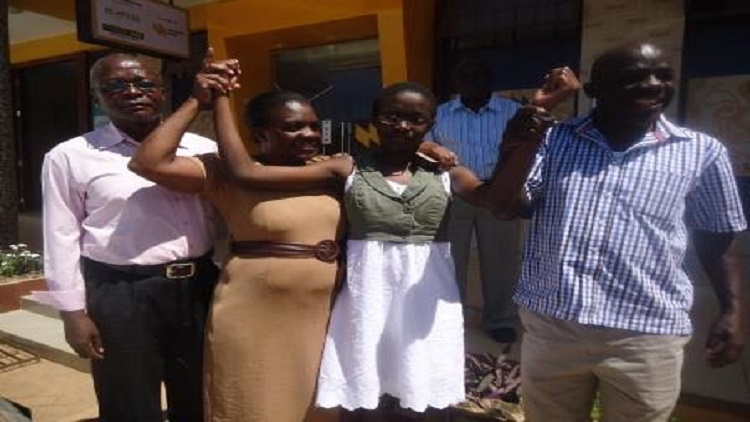 Margaret Amwai second from left celebrates with family/Photo/Cotron Alumasa/West Fm