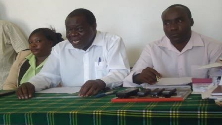 Vihiga County branch chairman for ANC party Asena Muyoma addressing press in Mbale/Photo Cotron Alumasa/West FM