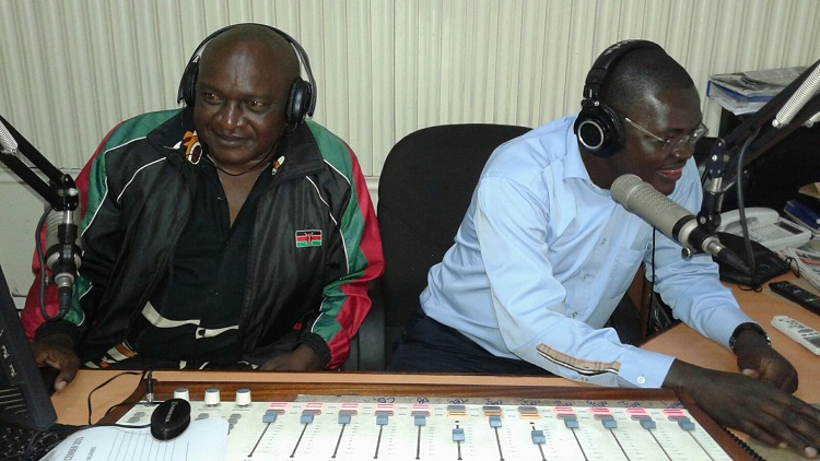 The harvesting manager Mr. Maurice Munoko and the public relations officer Mr. Gilbert Awino /Photo/Victoriah Sindani /West Fm
