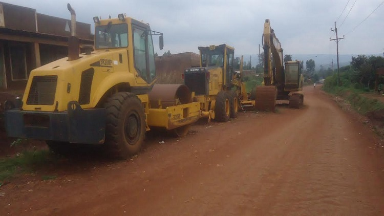The stalled caterpillars along the Kimilili- Machinjoni- Mkulima road/ Photo/ Erick Lumbasi /West Fm