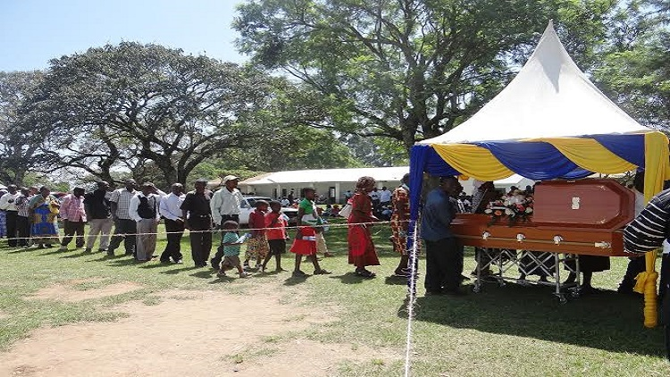 Mourners lined up to pay their last respect to the fallen chief principal Mr. Evans Matasi, he was the only chief principal in Bungoma County/ Photo/ Nebert Wafula/ West FM
