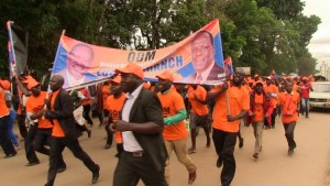 ODM surppoters running through Kakamega town to Masinde Muliro gardens where Wetangula was launching his presidential bid