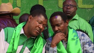 Wetangula speaking with Kalonzo during the launch