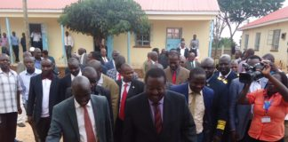 ANC Party Leader Musalia Mudavadi entering the Vihiga County Assembly building to address the Members.