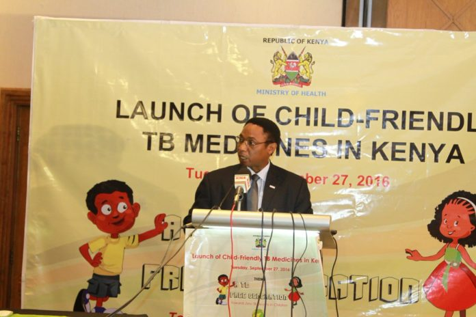 The Director of Medical Services Jackson Kioko speaking at the launch of child-friendly TB Medicine