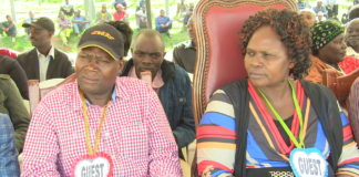 Saboti MP David Lazaro with Trans Nzoia Women Rep. Janet Nangabo at a function