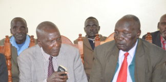 Kalenjin council of leaders chairman James Lukwo left and Pokot council of leaders chairman John Mwok during the briefing