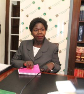 Senior Counsel Joyce Miguda before the JSC panel as she was being interviewed for the position of Deputy Chief Justice