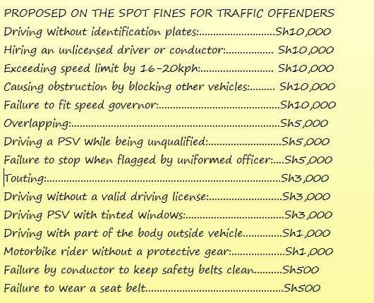 Some of the traffic rules introduced by NTSA have drawn mixed reactions, as are the fines
