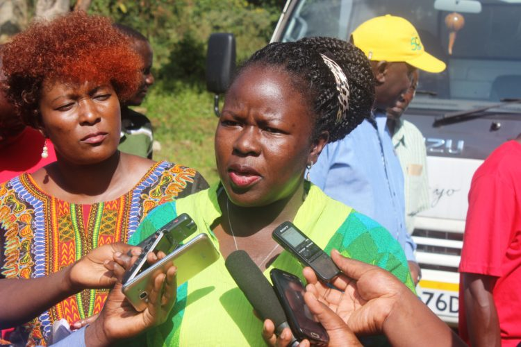 KEMRI chairperson Dr Lilian Apadet addressing the press at Akites Primary School