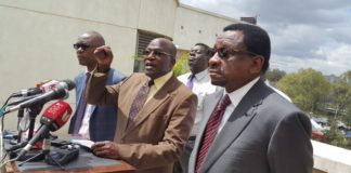 CORD leaders during press briefing in Nairobi, where they discussed alleged manipulation of IEBC