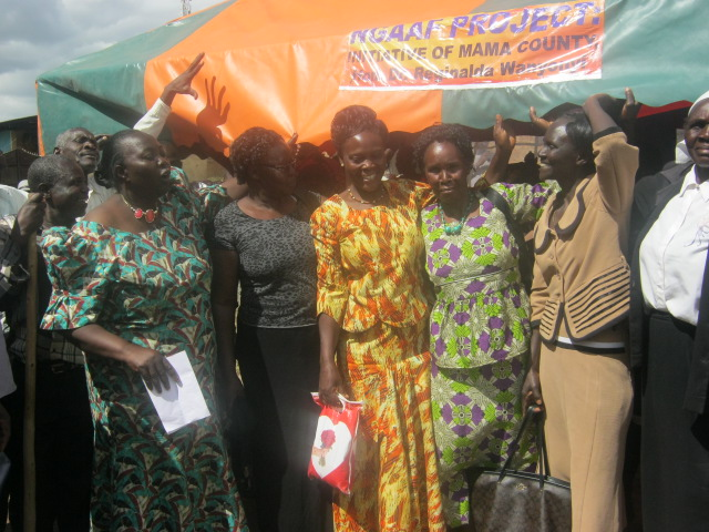 Dr. Reginalda Wanyonyi after giving out tents to women groups in Naitiri