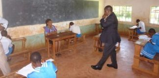 Education CS Fred Matiang'i at Chango Primary school on an impromptu visit in Vihiga County