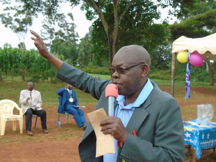Likuyani MP Enoch Kibunguchy addressing residents in his constituency