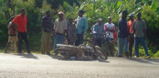The motorbike which was being used by the three family members when the accident occured