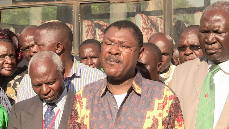 Wetangula speaking to journalists after attending the elders forum in Mabanga FTC