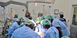 The team of surgeons as they were carrying out the surgery at KNH