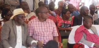 Former Amagoro MP AAA Ekirapa and Busia Deputy Governor Kizito Wangalwa during the Teso Cultural Day at Kakapel Primary School