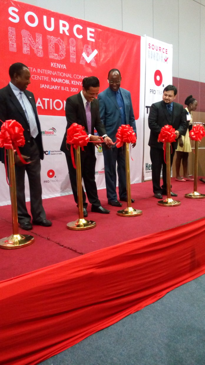 Indian exhibitors during the official inauguration ceremony in Nairobi, which will boost ties between India and the region