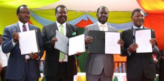 NASA leaders Kalonzo Musyoka, Musalia Mudavadi, Raila Odinga and Moses Wetangula after signing the coalition deal