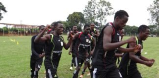Nzoia Sugar FC players preparing for a friendly match recently