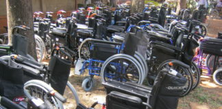 Some of the wheelchairs donated by Wheels for the World Foundation