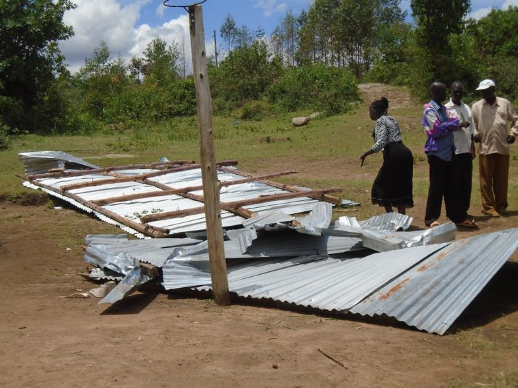 A section of the roof ripped off from classrooms at Tekoa Primary School