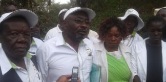 Herman Malavi addressing media at ANC party headquarters in Kitale