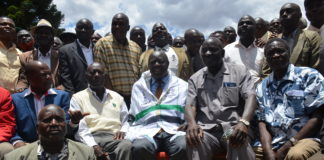 Trans Nzoia Governor Patrick Khaemba (centre) with the Luhya Council of Elders