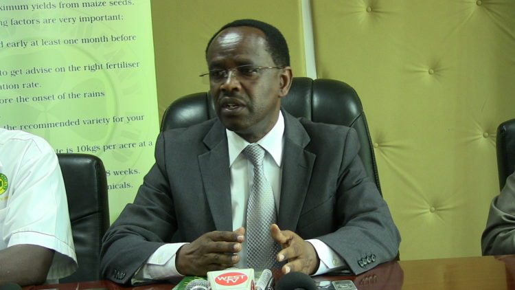 Kenya Seed MD Azariah Soi as he spoke to journalists at the company offices in Kitale