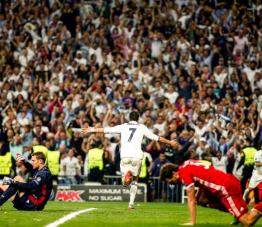 Real Madrid attacker Cristiano Ronaldo celebrates after scoring against Bayern Munich in the Champions League quarter final clash at the Santiago Bernabeu