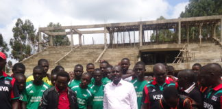 The Nandi County ball games team pose for a photo with County Governor Cleophas Lagat