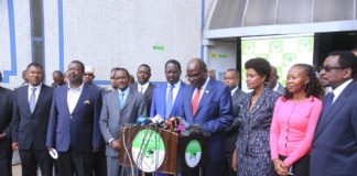 IEBC Chairman Wafula Chebukati addressing journalists after meeting with NASA leaders